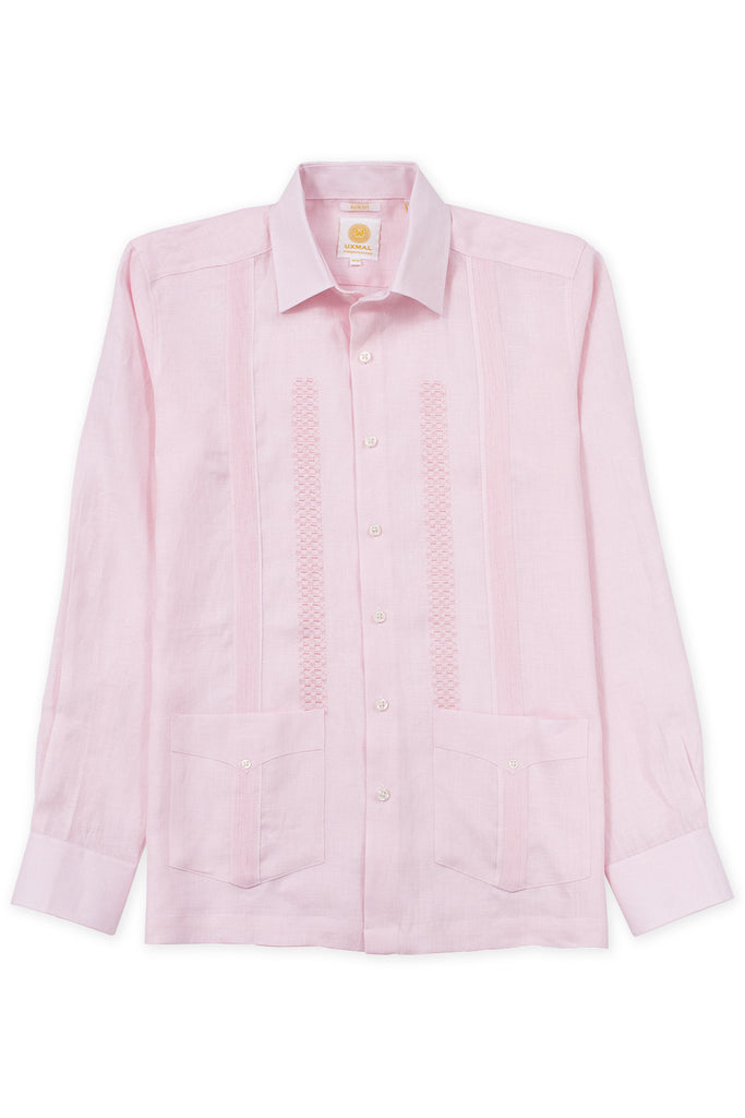 Slim fit traditional linen guayabera shirt celestun embroidery pink