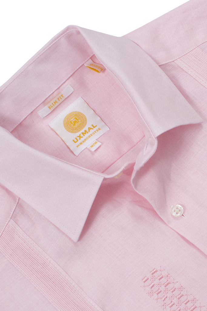 Slim fit traditional linen guayabera shirts celestun embroidery pink