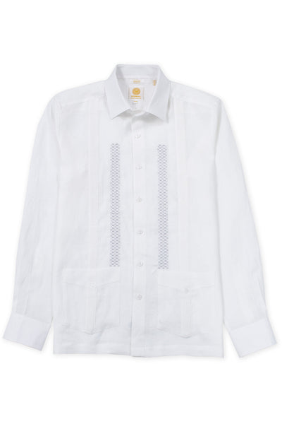 Slim fit traditional linen guayabera shirt celestun embroidery white