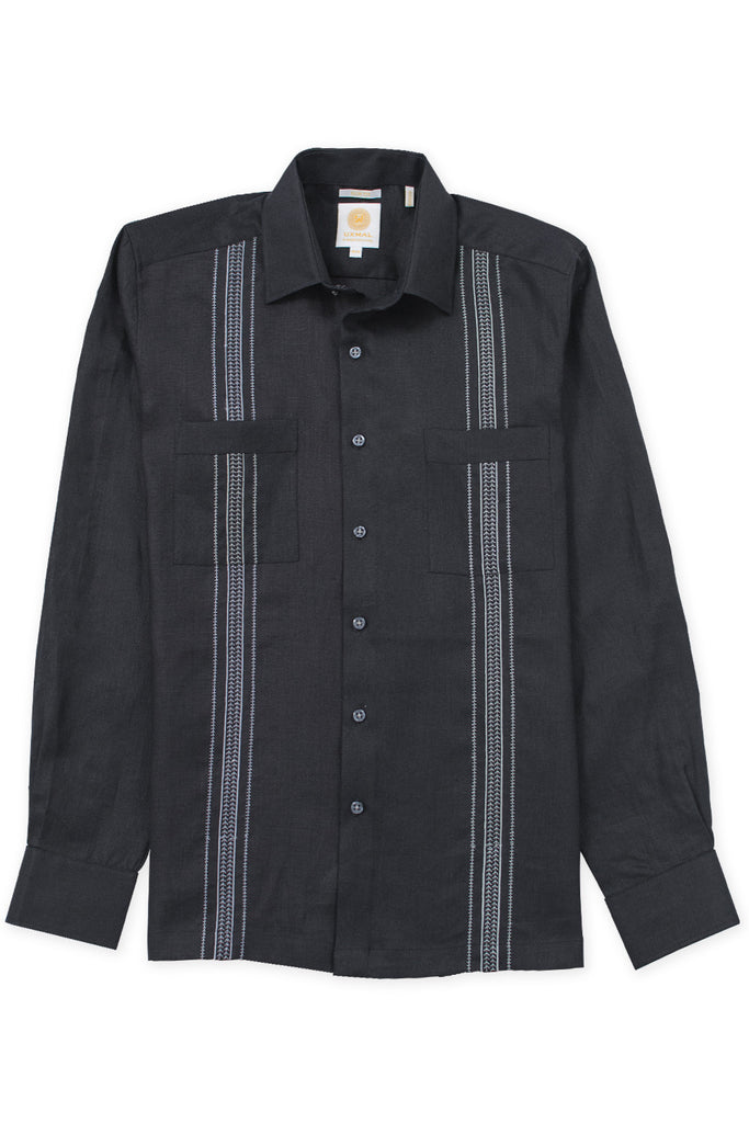 Slim fit boat wear linen guayabera cabo embroidery black