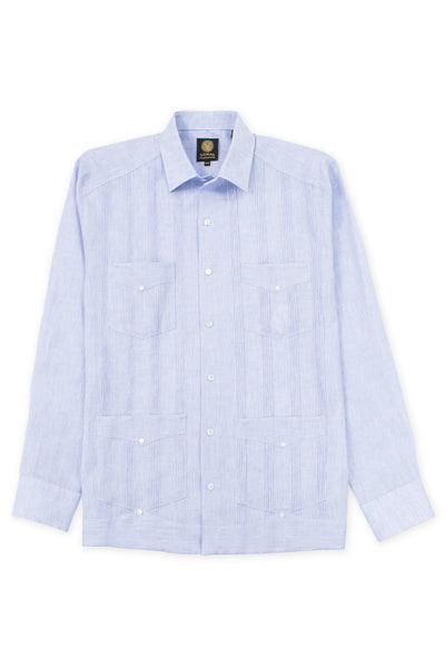 Regular fit 4 pocket italian linen relaxed guayabera shirt blue