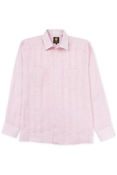 Regular fit 4 pocket italian linen relaxed guayabera shirt pink