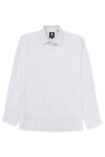 Regular fit 4 pocket italian linen relaxed guayabera shirt white