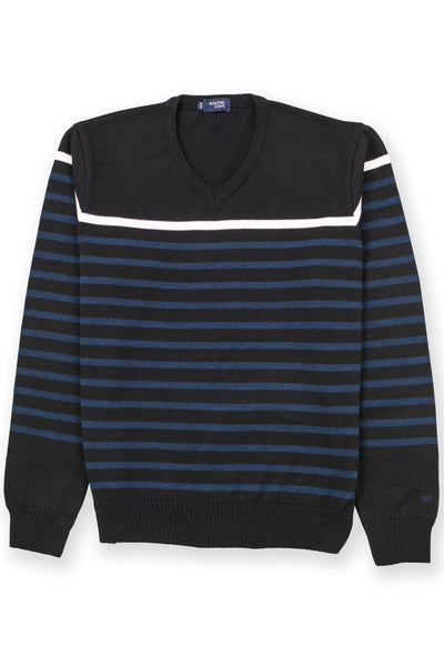 Striped merino wool casual wear blend sweater black