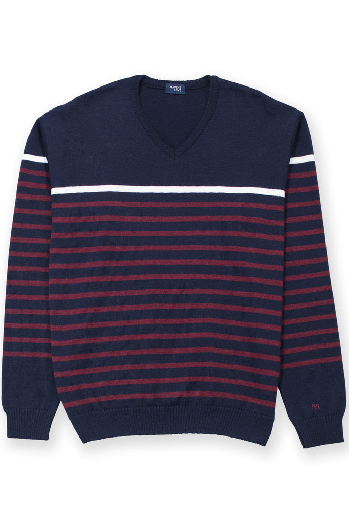 Striped merino wool casual wear blend sweater navy