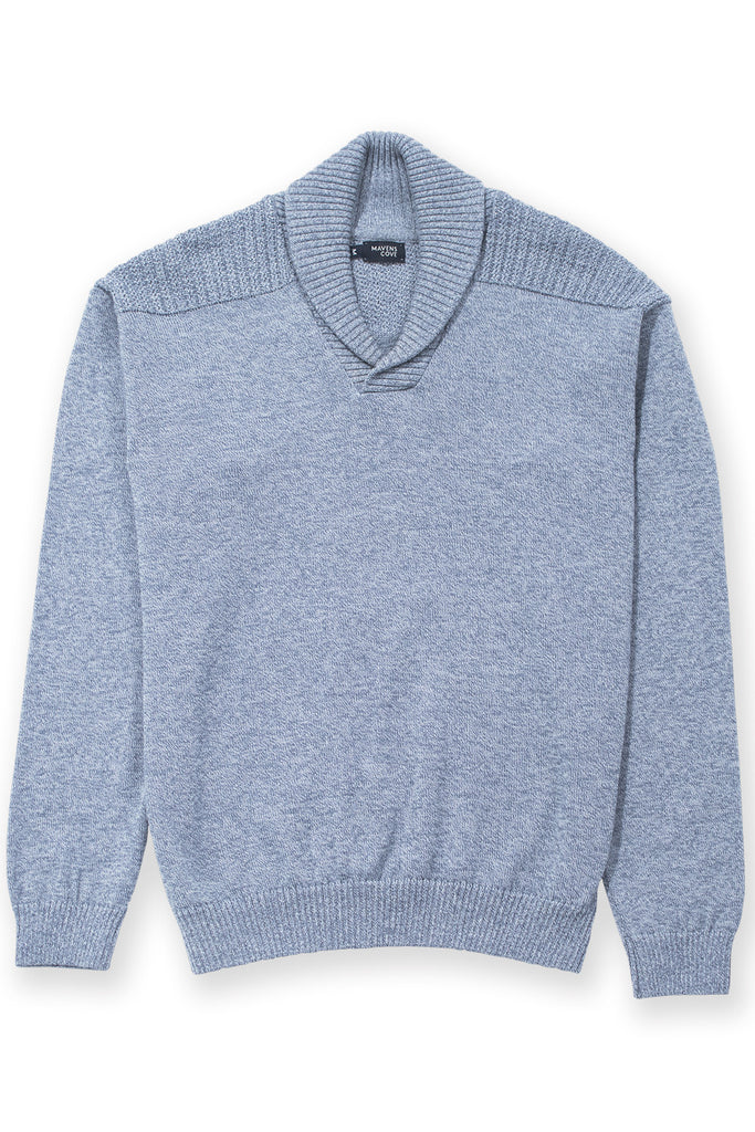 Shawl collar v-neck merino wool blend sweater blue