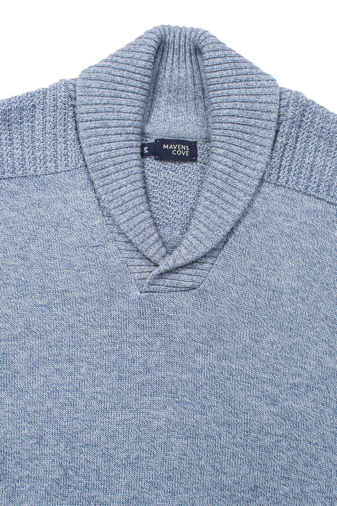Shawl collar v-neck merino wool blend sweaters blue