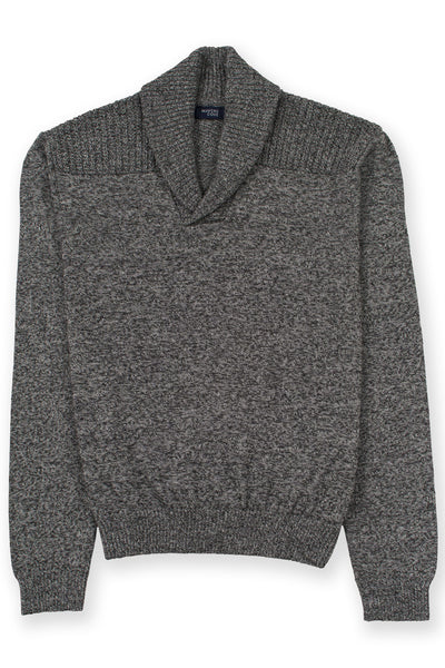Shawl collar v-neck merino wool blend sweater gray