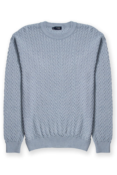 Round collar cable knit merino wool blend sweater blue with semi fitted cut
