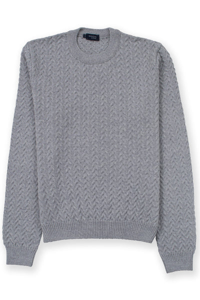 Round collar cable knit merino wool blend sweater gray with semi fitted cut