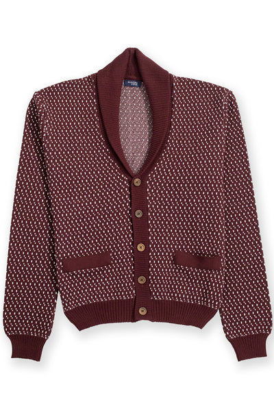 Cardigan merino wool blend  burgundy with shawl collar