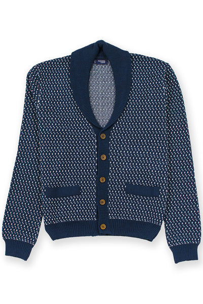 Cardigan merino wool blend  navy with shawl collar