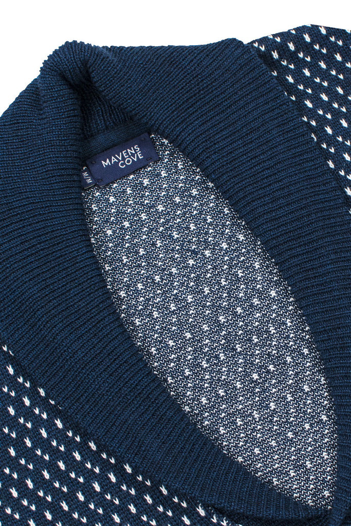 Cardigans merino wool blend  navy with shawl collar