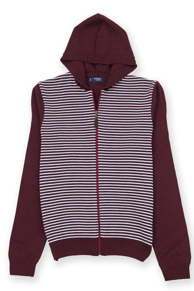 Zip up lightweight hoodie merino wool blend burgundy