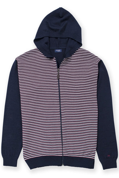 Zip up lightweight hoodie merino wool blend navy