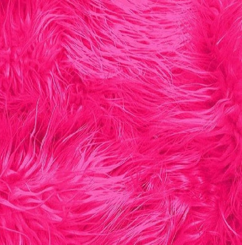 FabricLA Faux Fake Fur Shaggy Fabric by The Yard - Fuchsia -Free Shipping Within USA - FabricLA.com