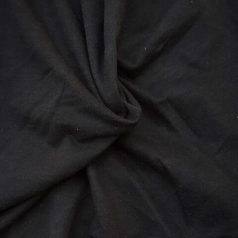 Black Cotton French Terry Fabric by the yard - Medium Weight - FabricLA.com