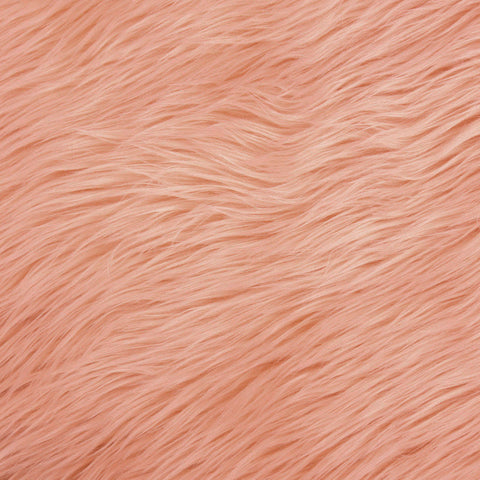 FabricLA Faux Fake Fur Shaggy Fabric by The Yard - Peach - Free Shipping Within USA - FabricLA.com