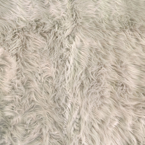 FabricLA Faux Fake Fur Shaggy Fabric by The Yard - Silver Gray - Free Shipping Within USA - FabricLA.com