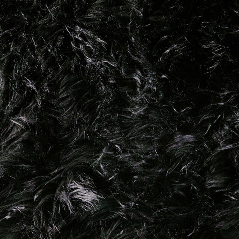 FabricLA Faux Fake Fur Shaggy Fabric by The Yard - Black - Free Shipping Within USA - FabricLA.com