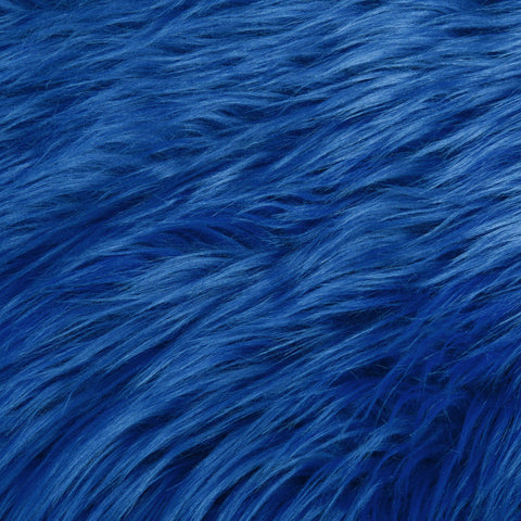 FabricLA Faux Fake Fur Shaggy Fabric by The Yard - Royal Blue - Free Shipping Within USA - FabricLA.com