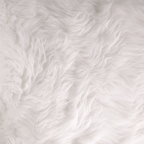 FabricLA Faux Fake Fur Shaggy Fabric by The Yard - White - Free Shipping Within USA - FabricLA.com