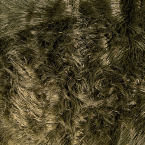 FabricLA Faux Fake Fur Shaggy Fabric by The Yard - Olive - Free Shipping Within USA