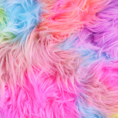 FabricLA Faux Fake Fur Shaggy Fabric by The Yard - Rainbow Pastel Patch - Free Shipping Within USA - FabricLA.com