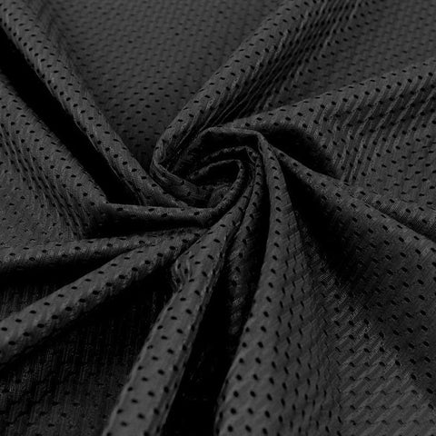 Football Mesh Knit Fabric by the Yard, Black TR1 - FabricLA.com