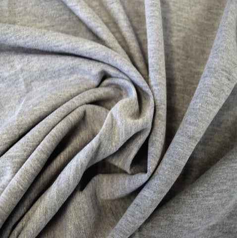 Heather Grey French Terry Spandex Fabric by the yard - FabricLA.com