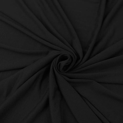 Cotton Lycra Spandex Knit Jersey by the yard -12 oz - Black - FabricLA.com
