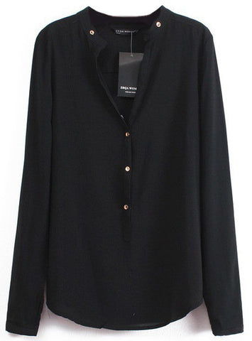 Black V Neck Long Sleeve Buttons Blouse