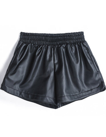 Black Elastic Waist PU Leather Shorts