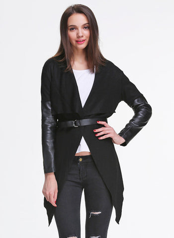 Black Contrast PU Leather Asymmetric Outerwear