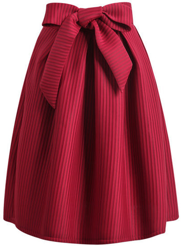 Bow Vertical Stripe Skirt