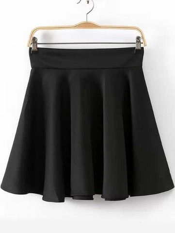 Black High Waist Pleated Skirt