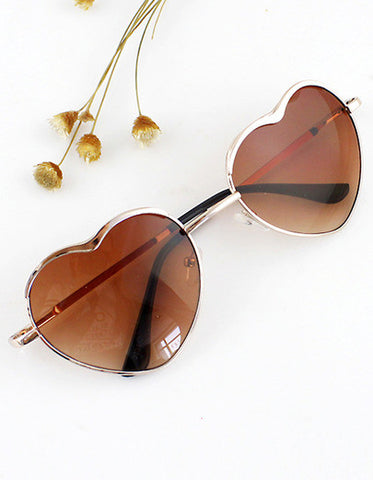 New 2015 Summer Fashion Gold Silver Alloy Heart Shape Acetate Frame Wrap Sunglasses