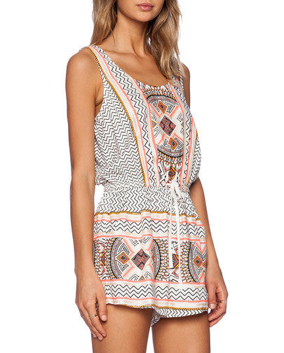 Apricot Sleeveless Tribal Print Playsuit