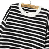 Black White Long Sleeve Striped Heart Print Sweater