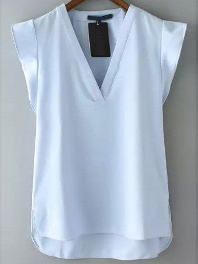 Blue V Neck Short Sleeve Casual Blouse