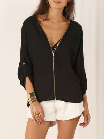 Black Long Sleeve V Neck Zipper Blouse