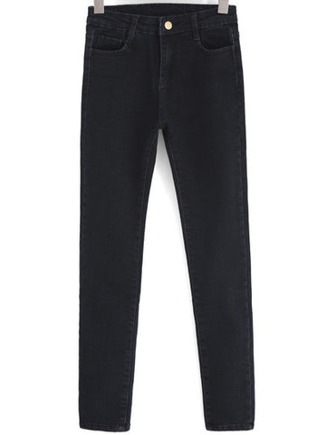 Black Pockets Slim Denim Pant