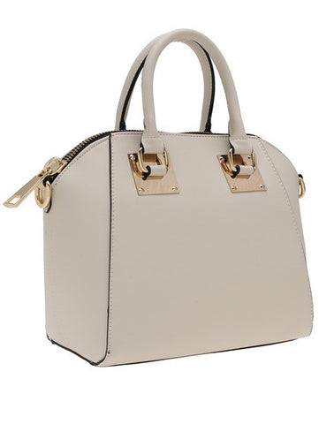 Beige Zipper Metallic Embellished PU Shoulder Bag