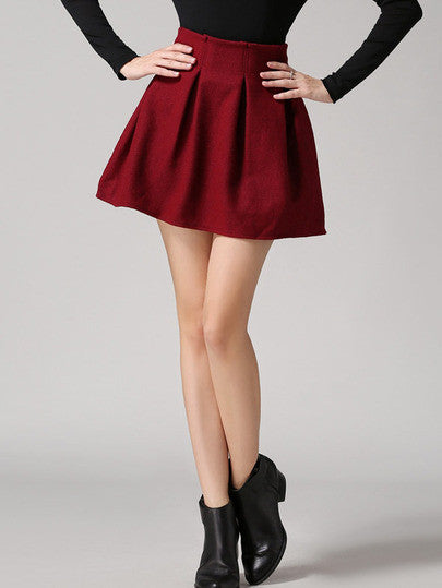 Red High Waist Woolen Skirt