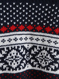 Navy Round Neck Tribal Print Knit Sweater