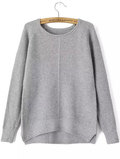 Round Neck Dip Hem Slit Grey Sweater
