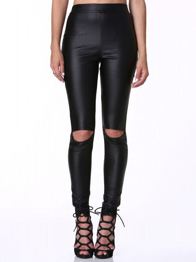 Black Elastic Waist Cut Out Pant