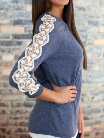 Blue Round Neck Lace Long Sleeve T-Shirt