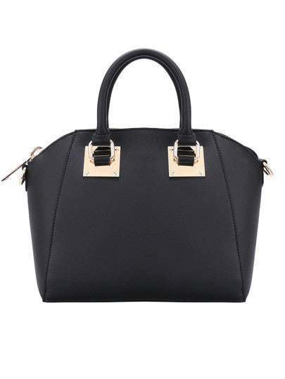 Black Casual Zipper PU Tote Bag