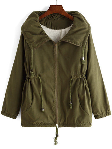 Army Green Lapel Drawstring Loose Coat